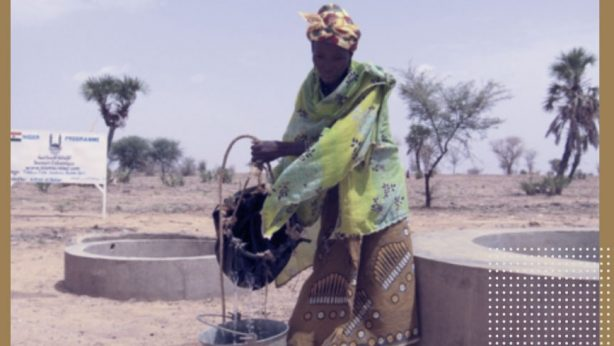 a woman take water from a well and sanitation
