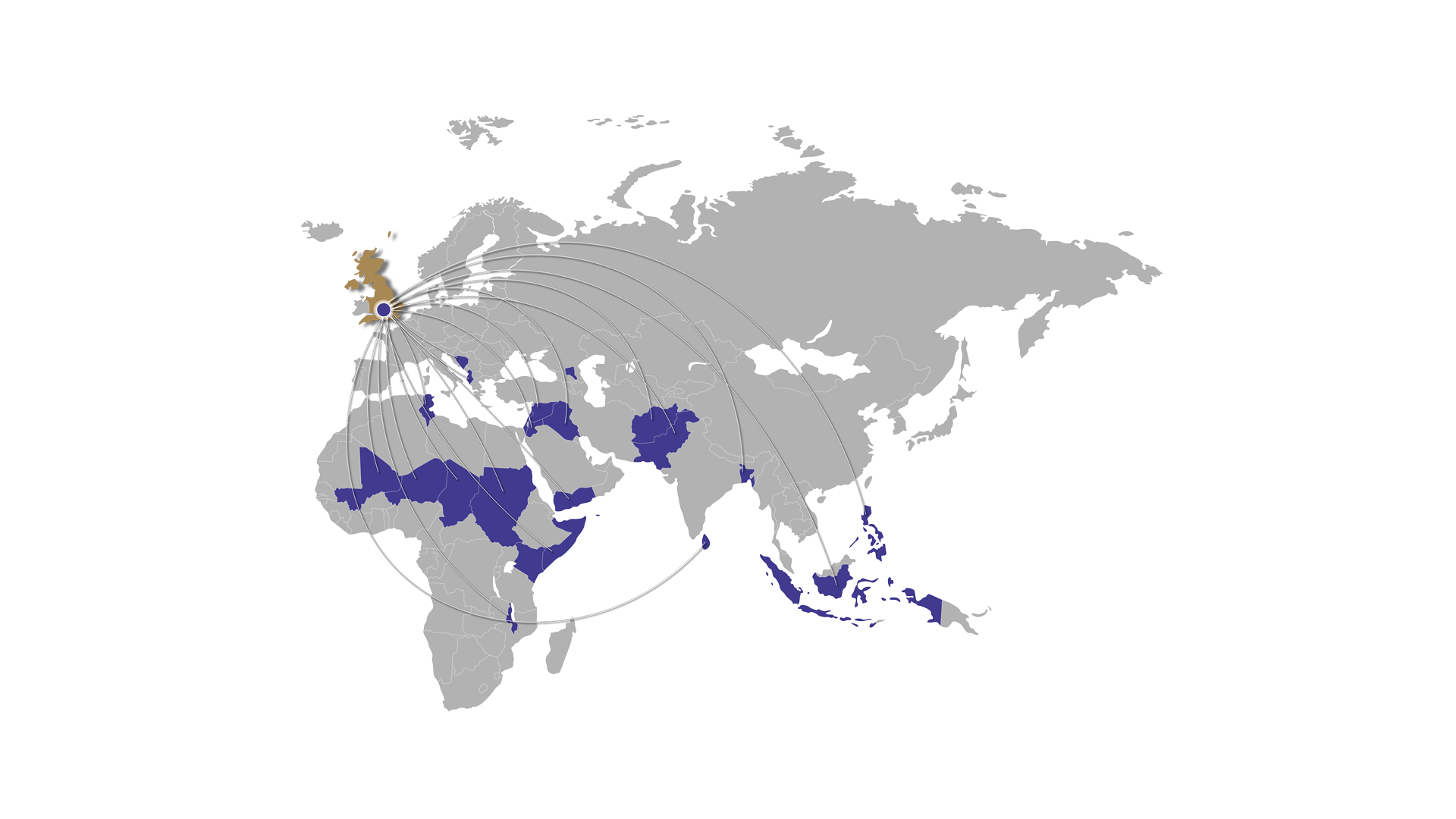 the world map with some highlighted countries like UK on the top